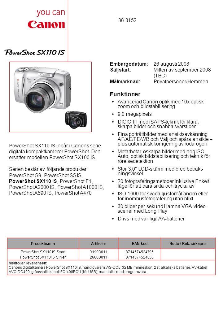Funktioner  Avancerad Canon optik med 10x optisk zoom och bildstabilisering  9,0 megapixels  DIGIC III med iSAPS-teknik för klara, skarpa bilder och snabba svarstider  Fina porträttbilder med ansiktsavkänning AF/AE/FE/WB och Välj och spåra ansikte – plus automatisk korrigering av röda ögon  Motarbetar oskarpa bilder med hög ISO Auto, optisk bildstabilisering och teknik för rörelsedetektion  Stor 3,0 LCD-skärm med bred betrakt- ningsvinkel  20 fotograferingsmetoder inklusive Enkelt läge för att bara sikta och trycka av  ISO 1600 för svaga ljusförhållanden eller för inomhusfotografering utan blixt  30 bilder per sekund i jämna VGA-video- scener med Long Play  Drivs med vanliga AA-batterier PowerShot SX110 IS ingår i Canons serie digitala kompaktkameror PowerShot.