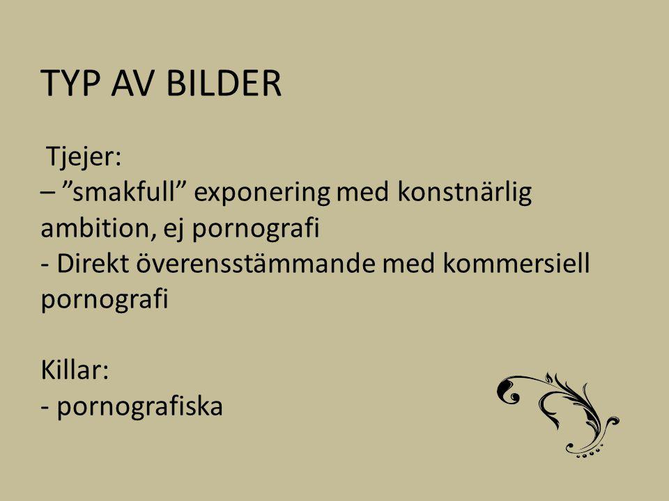 """TYP AV BILDER Tjejer: – """"smakfull"""" exponering med konstnärlig ambition, ej pornografi - Direkt överensstämmande med kommersiell pornografi Killar: - p"""