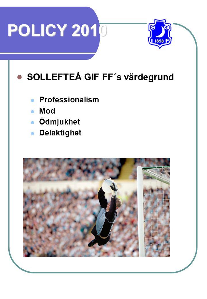 POLICY 2010 SOLLEFTEÅ GIF FF´s värdegrund Professionalism Mod Ödmjukhet Delaktighet