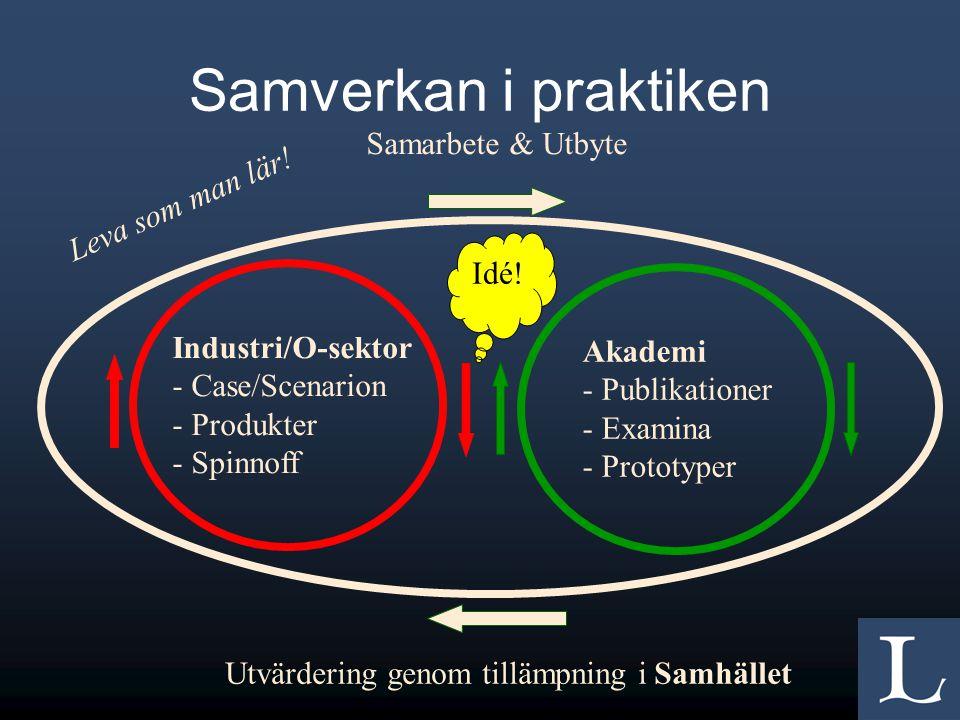 Samverkan i praktiken Industri/O-sektor - Case/Scenarion - Produkter - Spinnoff Akademi - Publikationer - Examina - Prototyper Samarbete & Utbyte Idé.