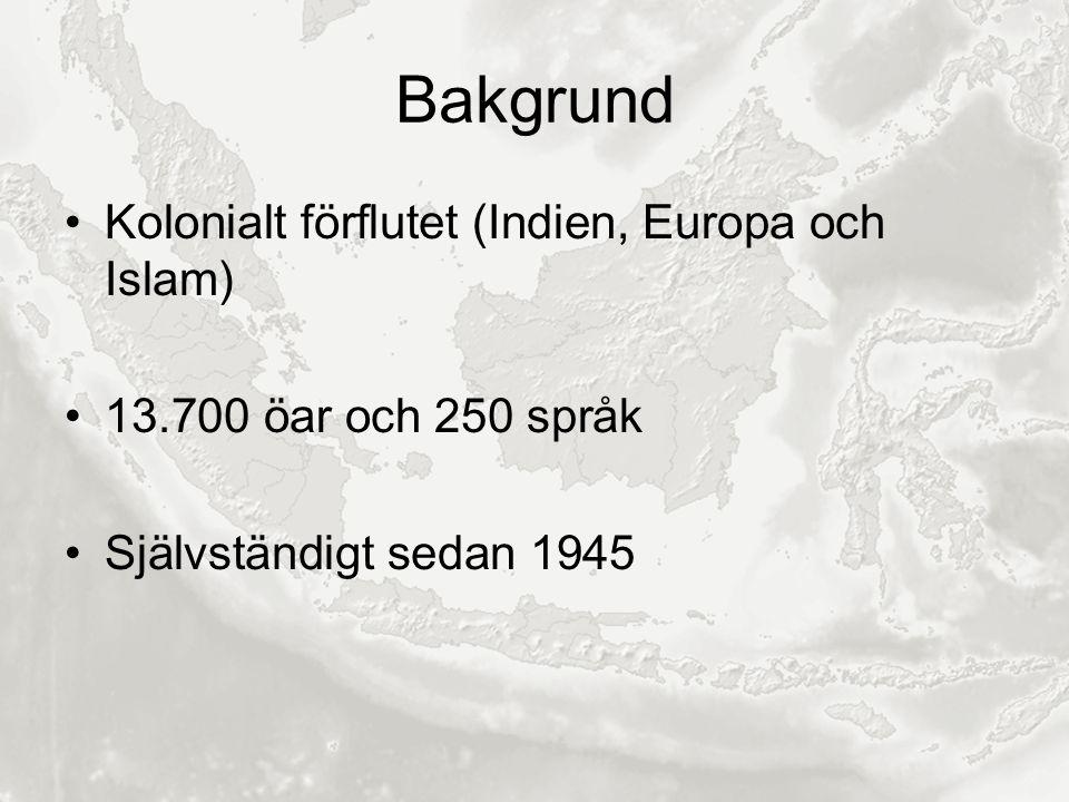 Bakgrund Kolonialt förflutet (Indien, Europa och Islam) 13.700 öar och 250 språk Självständigt sedan 1945