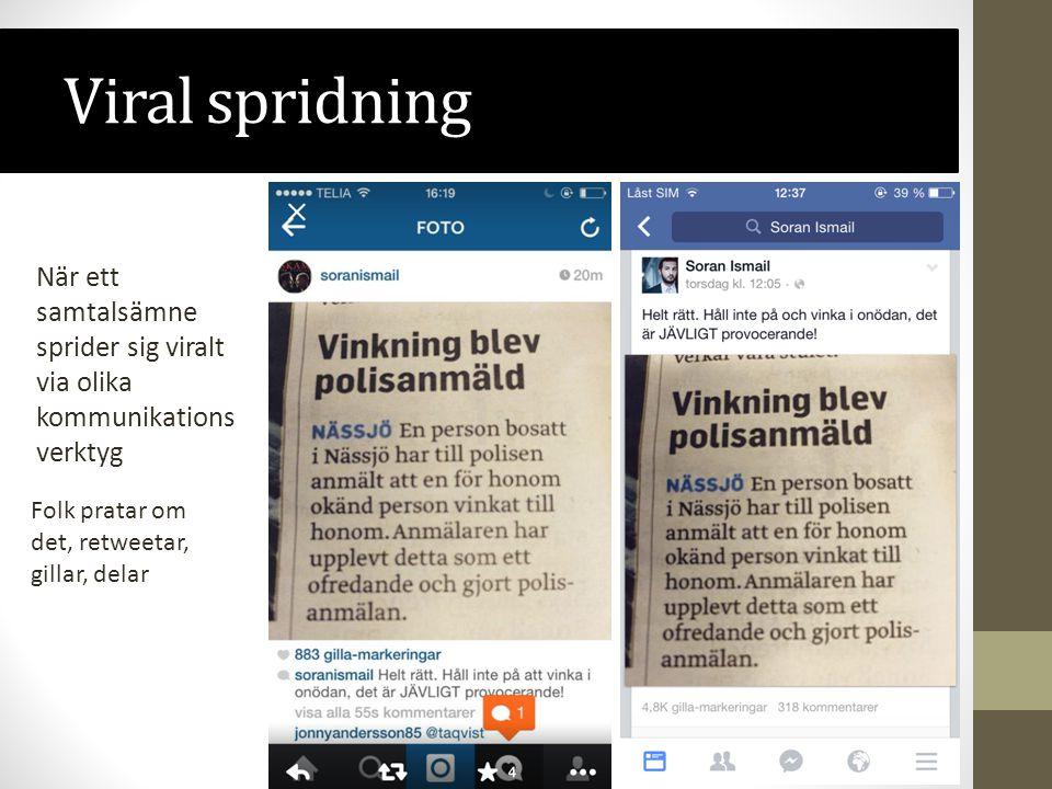 Viral spridning När ett samtalsämne sprider sig viralt via olika kommunikations verktyg Folk pratar om det, retweetar, gillar, delar
