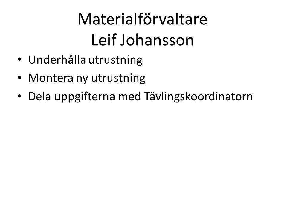Materialförvaltare Leif Johansson Underhålla utrustning Montera ny utrustning Dela uppgifterna med Tävlingskoordinatorn
