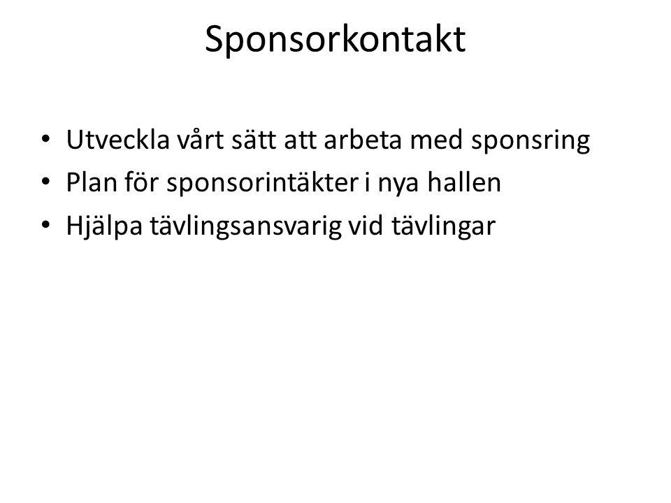Sponsorkontakt Utveckla vårt sätt att arbeta med sponsring Plan för sponsorintäkter i nya hallen Hjälpa tävlingsansvarig vid tävlingar