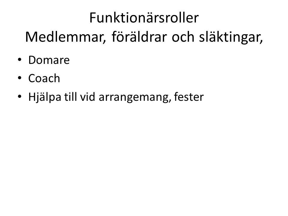 Funktionärsroller Medlemmar, föräldrar och släktingar, Domare Coach Hjälpa till vid arrangemang, fester