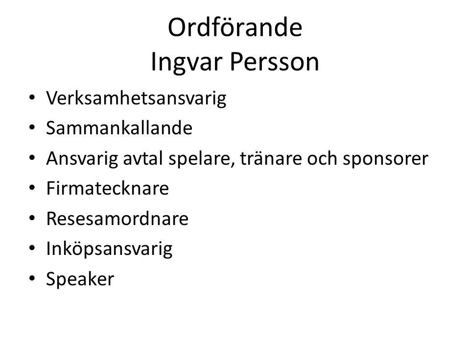 Ordförande Ingvar Persson Verksamhetsansvarig Sammankallande Ansvarig avtal spelare, tränare och sponsorer Firmatecknare Resesamordnare Inköpsansvarig Speaker