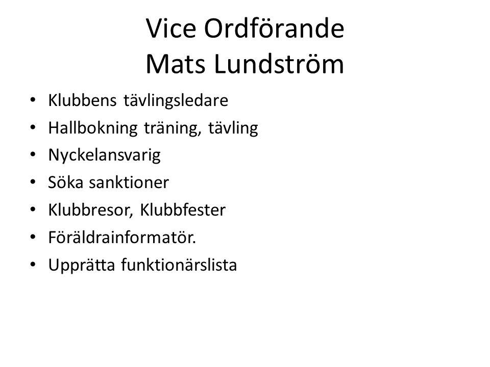 Vice Ordförande Mats Lundström Klubbens tävlingsledare Hallbokning träning, tävling Nyckelansvarig Söka sanktioner Klubbresor, Klubbfester Föräldrainformatör.