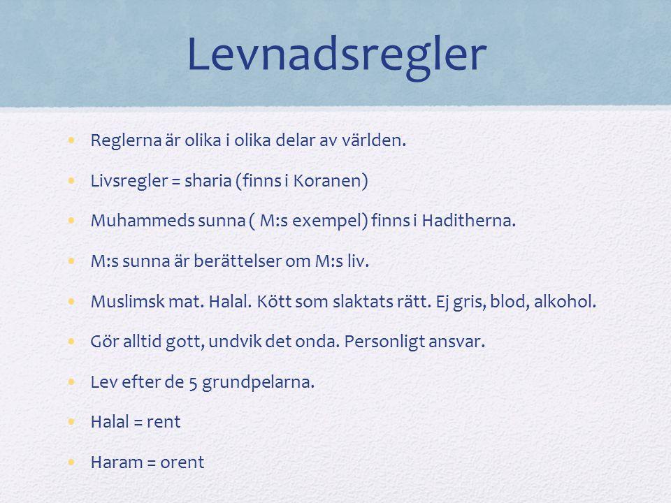Levnadsregler Reglerna är olika i olika delar av världen. Livsregler = sharia (finns i Koranen) Muhammeds sunna ( M:s exempel) finns i Haditherna. M:s