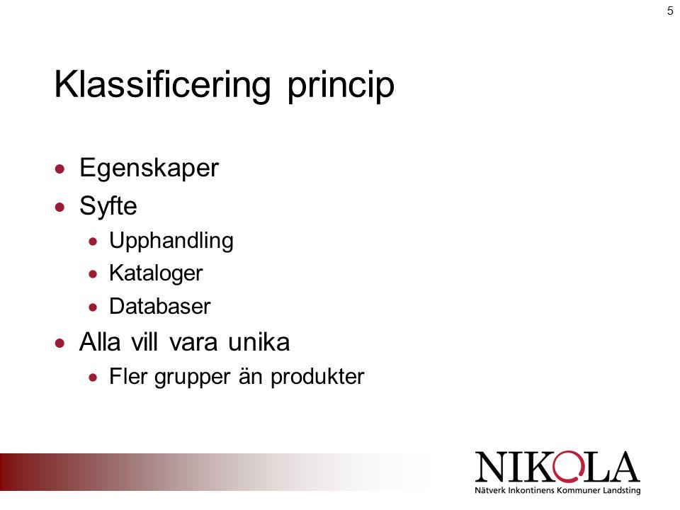 Klassificering  ISO 9999  Absorberande 10 nya grupper  Som kataloger / webb  KlaraKrav  Absorberande – absorptionsklasser  Tappningskatetrar – typ, längd  Fixeringsbyxor – tvätt, användningstid 6