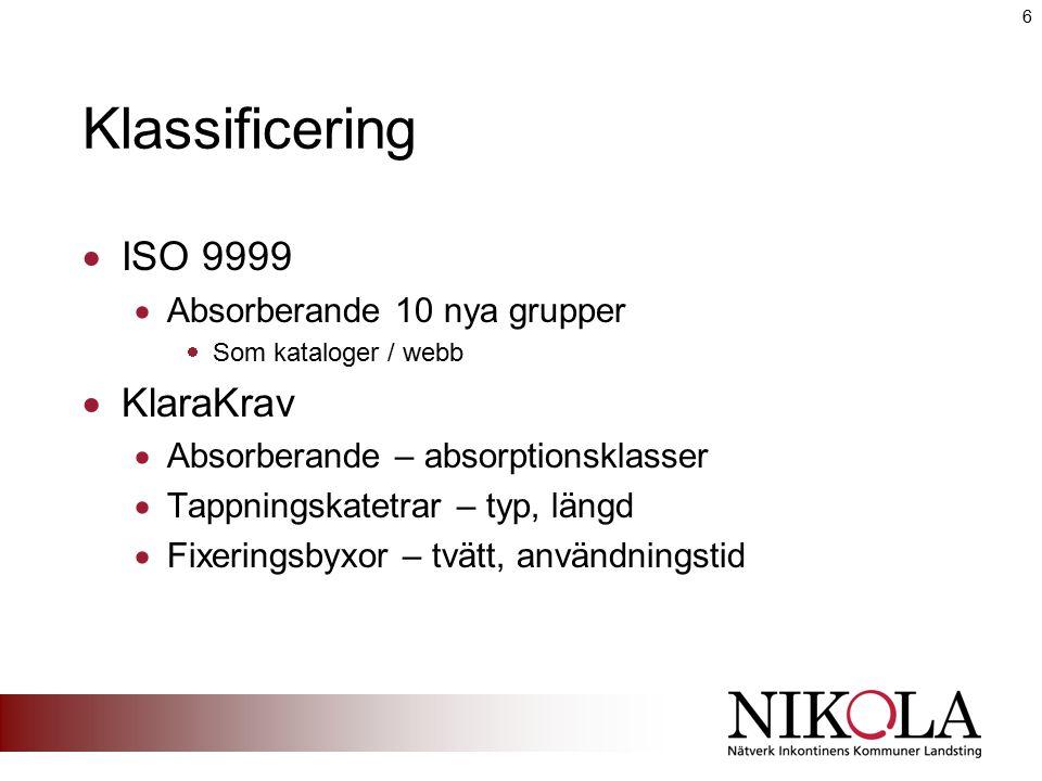 Klassificering  ISO 9999  Absorberande 10 nya grupper  Som kataloger / webb  KlaraKrav  Absorberande – absorptionsklasser  Tappningskatetrar – t