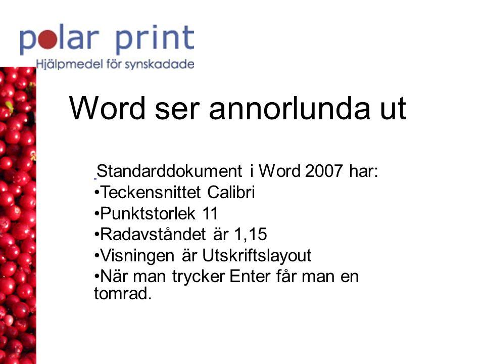 Word ser annorlunda ut Standarddokument i Word 2007 har: Teckensnittet Calibri Punktstorlek 11 Radavståndet är 1,15 Visningen är Utskriftslayout När man trycker Enter får man en tomrad.