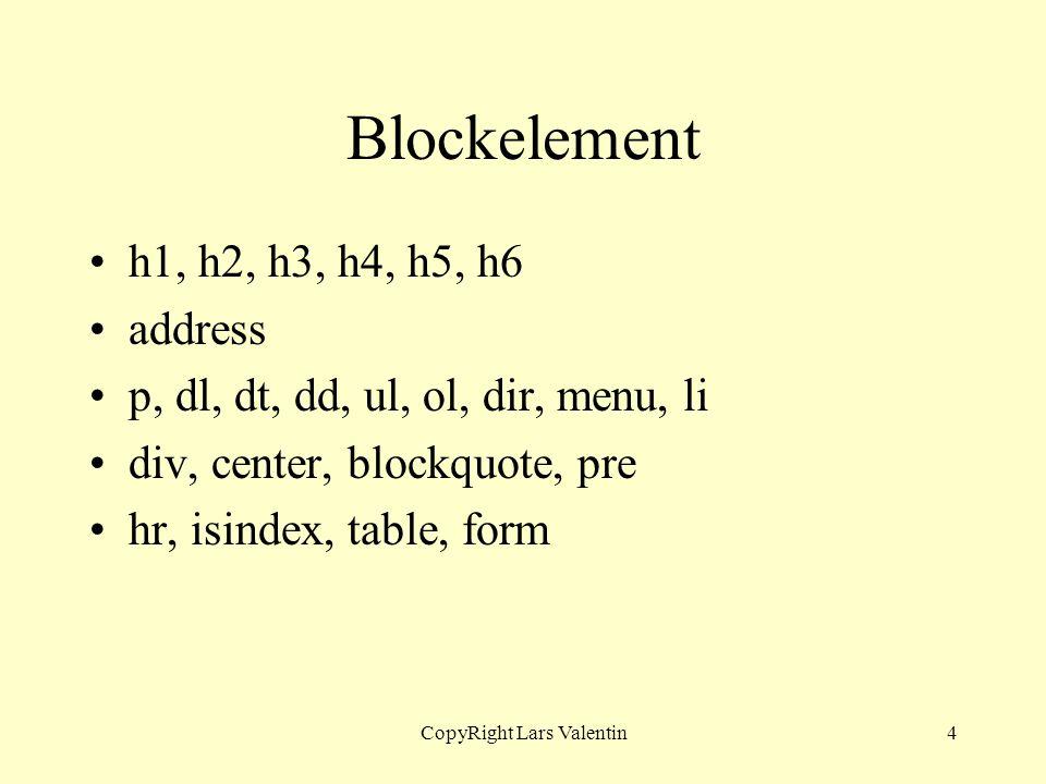 CopyRight Lars Valentin4 Blockelement h1, h2, h3, h4, h5, h6 address p, dl, dt, dd, ul, ol, dir, menu, li div, center, blockquote, pre hr, isindex, ta