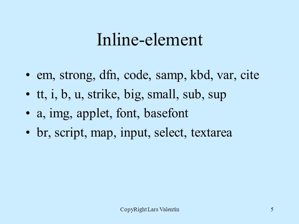 CopyRight Lars Valentin5 Inline-element em, strong, dfn, code, samp, kbd, var, cite tt, i, b, u, strike, big, small, sub, sup a, img, applet, font, ba
