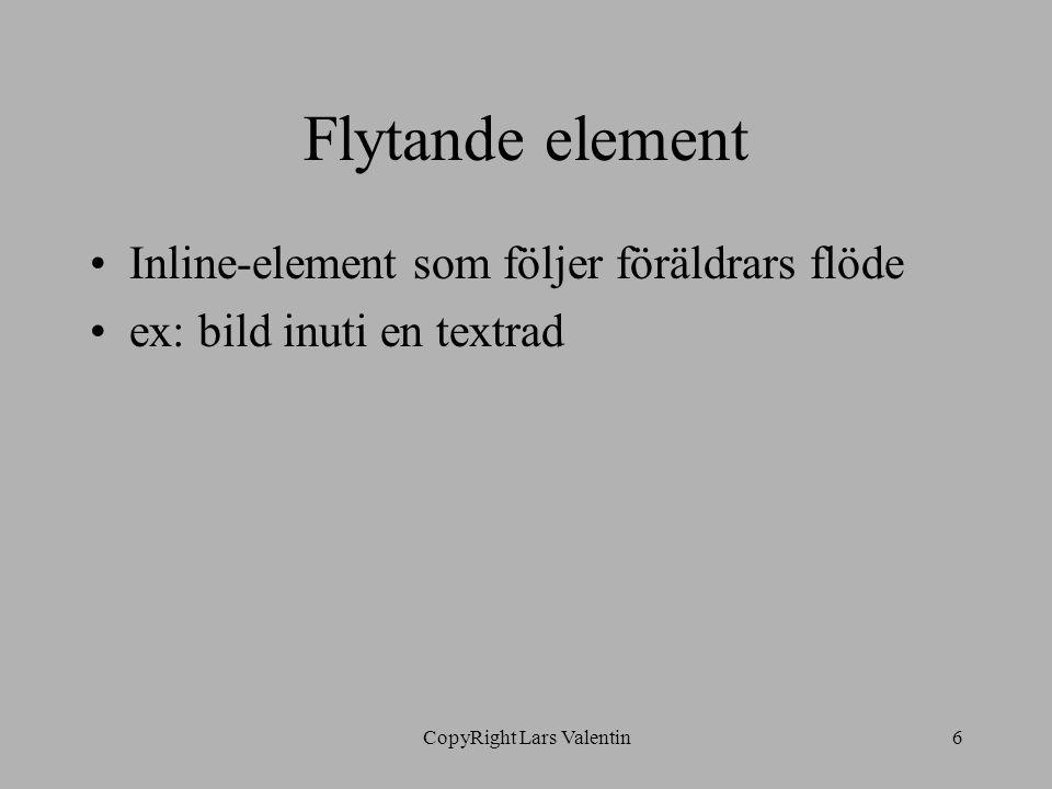 CopyRight Lars Valentin6 Flytande element Inline-element som följer föräldrars flöde ex: bild inuti en textrad