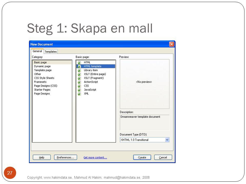 Steg 1: Skapa en mall Copyright, www.hakimdata.se, Mahmud Al Hakim, mahmud@hakimdata.se, 2008 27