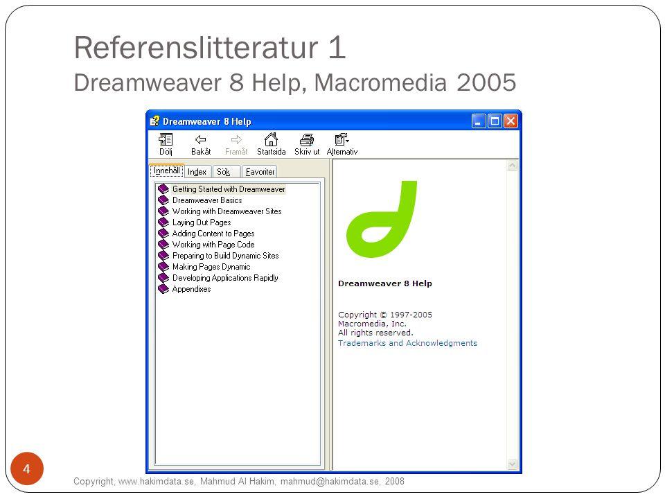 Referenslitteratur 2 Webdesignskolan.com (Dreamweaverskolan) Copyright, www.hakimdata.se, Mahmud Al Hakim, mahmud@hakimdata.se, 2008 5
