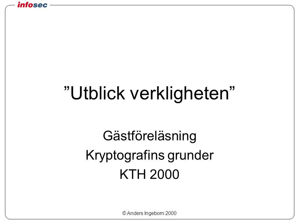 © Anders Ingeborn 2000 Utblick verkligheten Gästföreläsning Kryptografins grunder KTH 2000