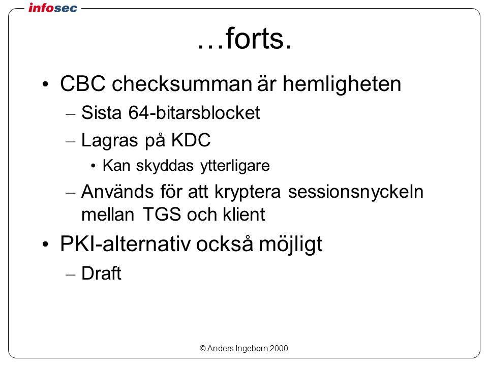 © Anders Ingeborn 2000 …forts. CBC checksumman är hemligheten – Sista 64-bitarsblocket – Lagras på KDC Kan skyddas ytterligare – Används för att krypt