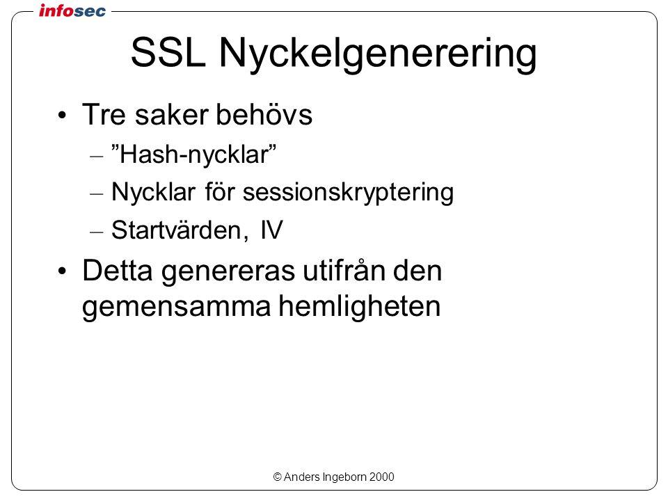 © Anders Ingeborn 2000 SSL Nyckelgenerering Tre saker behövs – Hash-nycklar – Nycklar för sessionskryptering – Startvärden, IV Detta genereras utifrån den gemensamma hemligheten