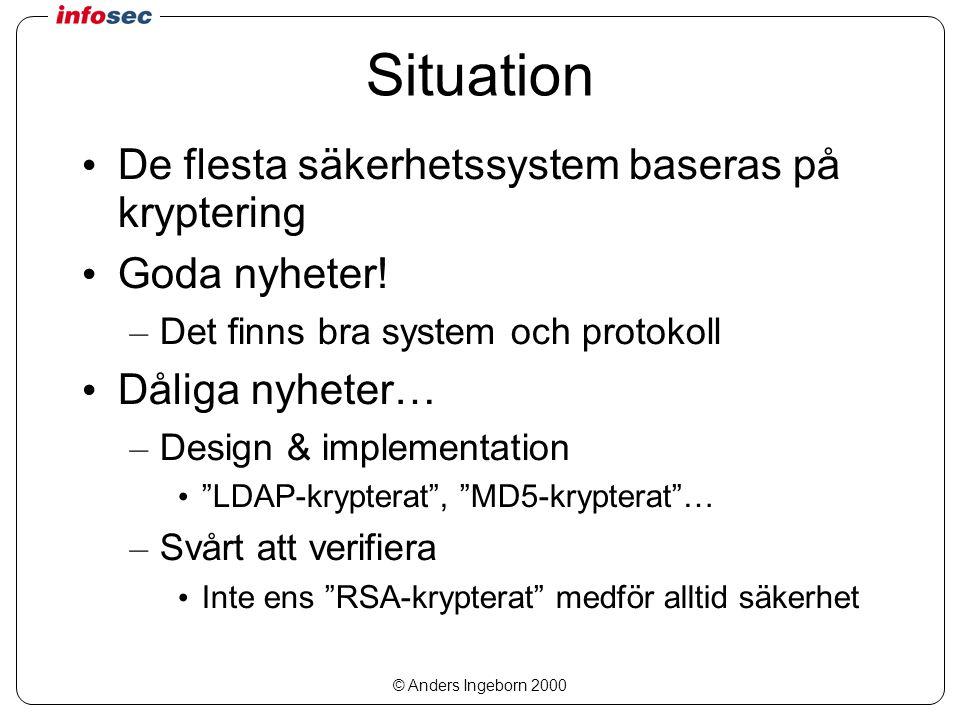 © Anders Ingeborn 2000 Situation De flesta säkerhetssystem baseras på kryptering Goda nyheter! – Det finns bra system och protokoll Dåliga nyheter… –