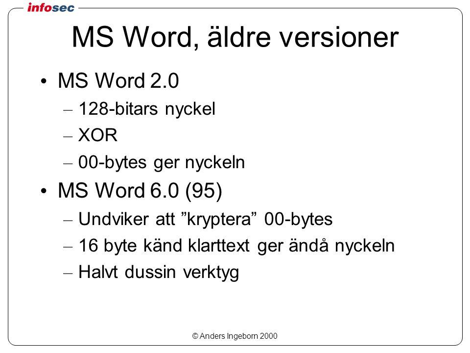 © Anders Ingeborn 2000 MS Word, äldre versioner MS Word 2.0 – 128-bitars nyckel – XOR – 00-bytes ger nyckeln MS Word 6.0 (95) – Undviker att kryptera 00-bytes – 16 byte känd klarttext ger ändå nyckeln – Halvt dussin verktyg