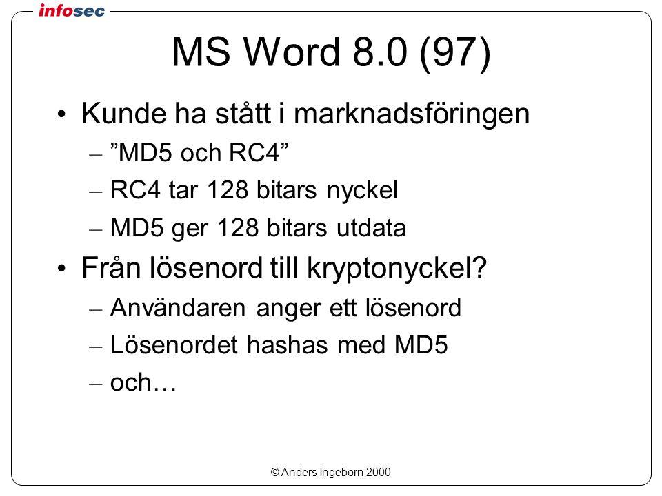 © Anders Ingeborn 2000 MS Word 8.0 (97) Kunde ha stått i marknadsföringen – MD5 och RC4 – RC4 tar 128 bitars nyckel – MD5 ger 128 bitars utdata Från lösenord till kryptonyckel.