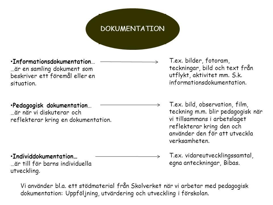 DOKUMENTATION Informationsdokumentation… …är en samling dokument som beskriver ett föremål eller en situation. Pedagogisk dokumentation… …är när vi di