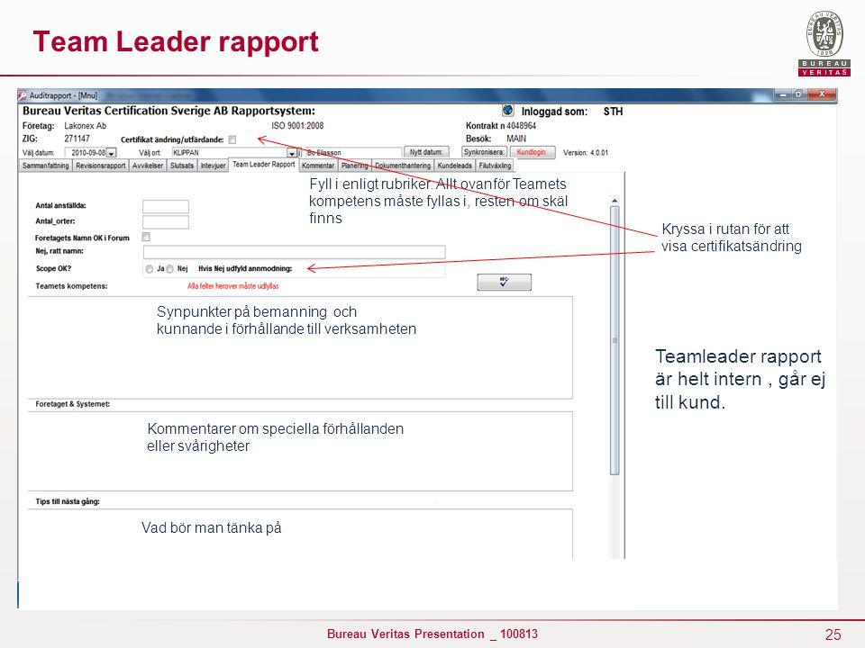 25 Bureau Veritas Presentation _ 100813 Team Leader rapport Teamleader rapport är helt intern, går ej till kund. Synpunkter på bemanning och kunnande