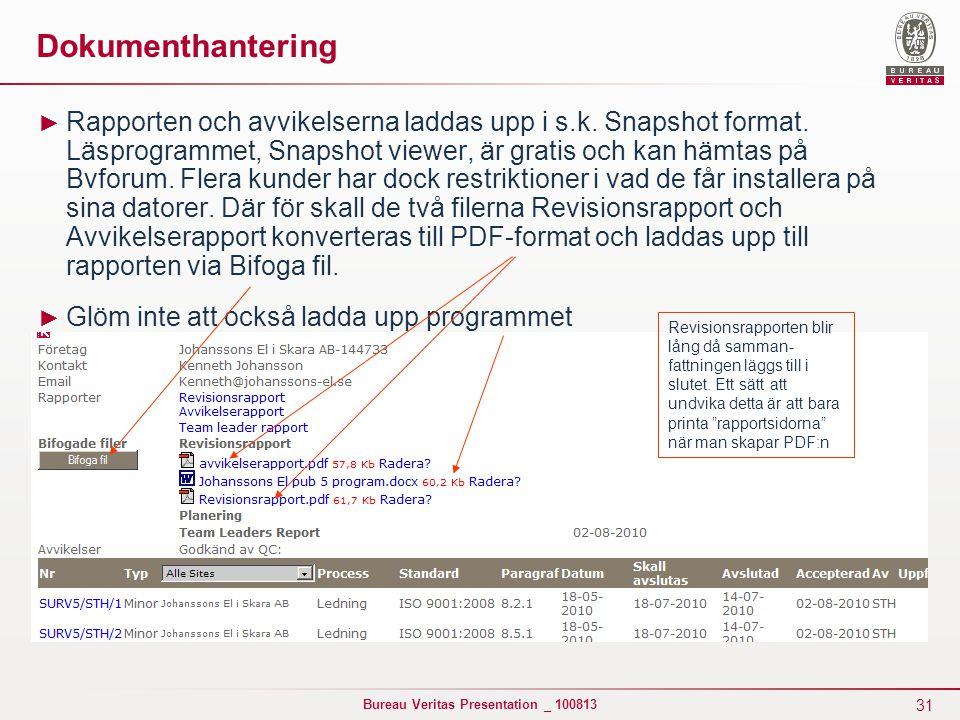 31 Bureau Veritas Presentation _ 100813 Dokumenthantering ► Rapporten och avvikelserna laddas upp i s.k. Snapshot format. Läsprogrammet, Snapshot view