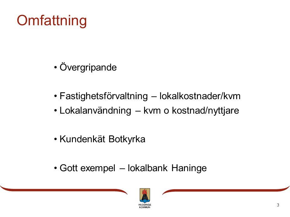 3 Omfattning Övergripande Fastighetsförvaltning – lokalkostnader/kvm Lokalanvändning – kvm o kostnad/nyttjare Kundenkät Botkyrka Gott exempel – lokalbank Haninge