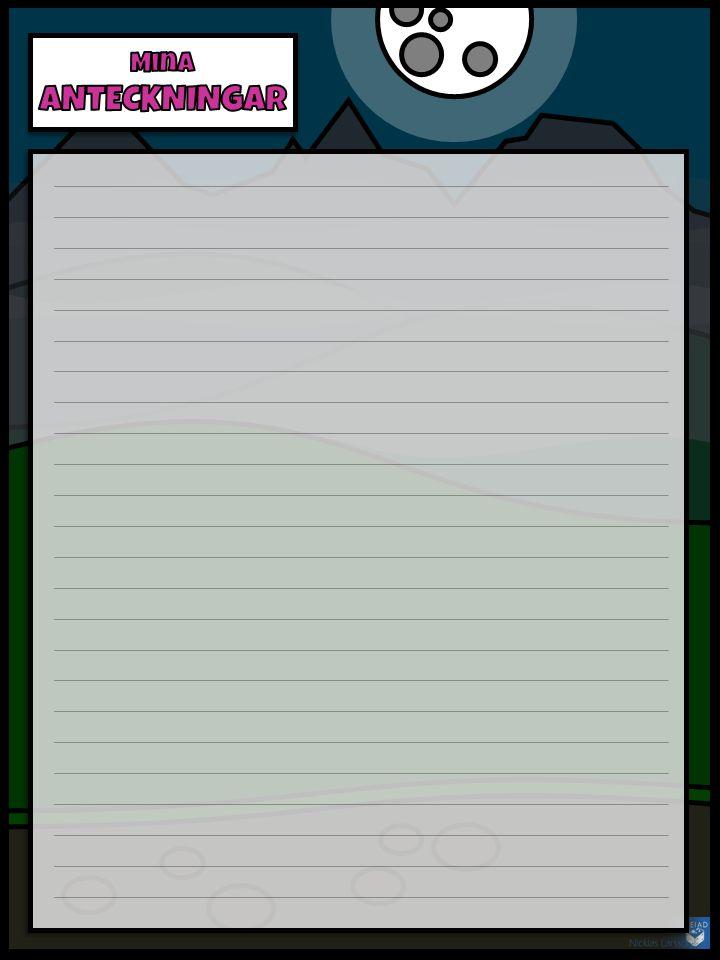 Eleven kommer förmodligen att behöva minnas vissa saker och göra vissa anteckningar under spelifieringens gång; detta ark kan då komma väl till pass.