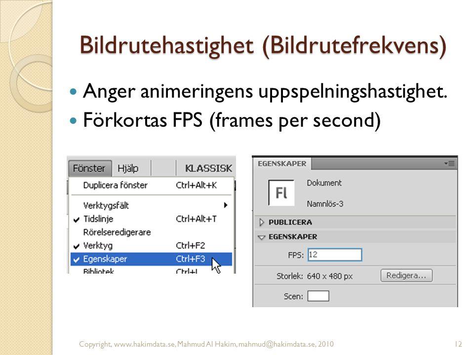 Bildrutehastighet (Bildrutefrekvens) Anger animeringens uppspelningshastighet.