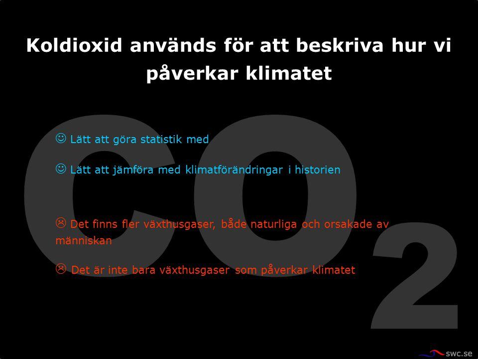 CO 2 Lätt att göra statistik med Lätt att jämföra med klimatförändringar i historien  Det finns fler växthusgaser, både naturliga och orsakade av män