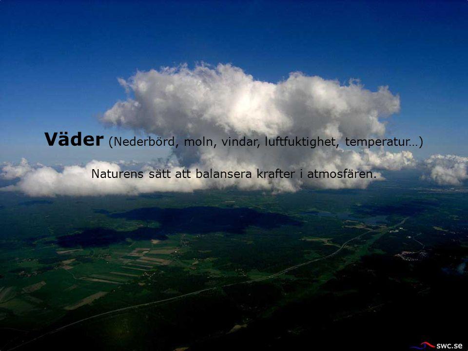 Väder (Nederbörd, moln, vindar, luftfuktighet, temperatur…) Naturens sätt att balansera krafter i atmosfären.