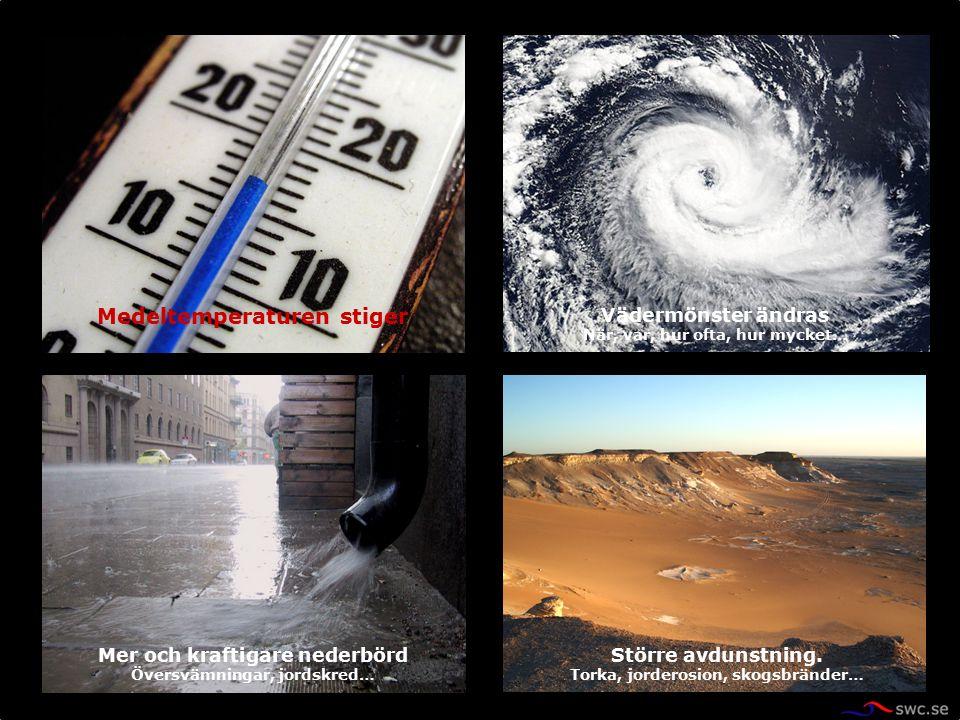 Vädermönster ändras När, var, hur ofta, hur mycket… Medeltemperaturen stiger Mer och kraftigare nederbörd Översvämningar, jordskred… Större avdunstnin