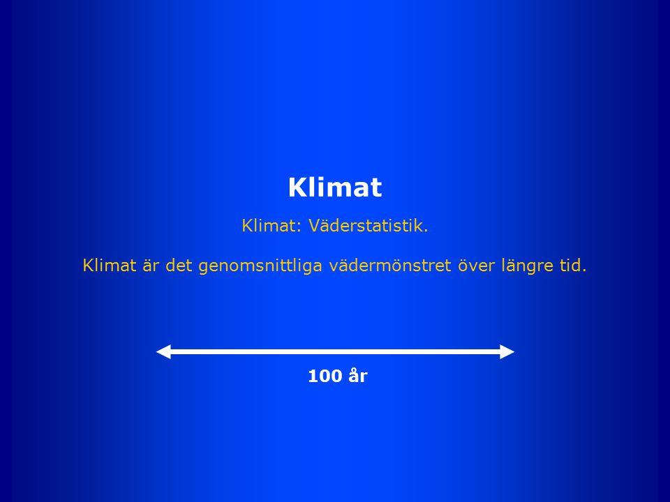 Klimat Klimat: Väderstatistik. Klimat är det genomsnittliga vädermönstret över längre tid. 100 år