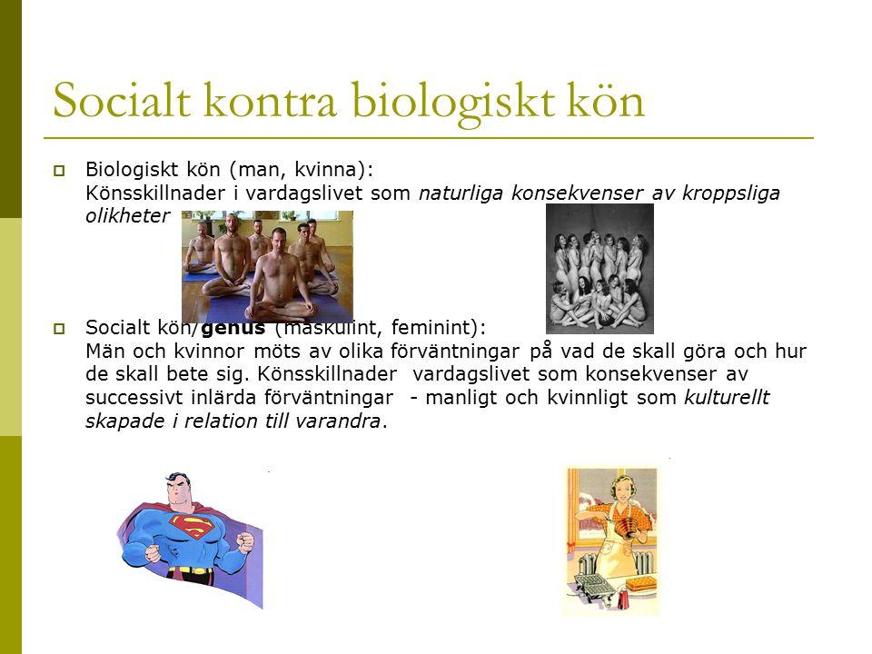 Socialt kontra biologiskt kön  Biologiskt kön (man, kvinna): Könsskillnader i vardagslivet som naturliga konsekvenser av kroppsliga olikheter  Socia