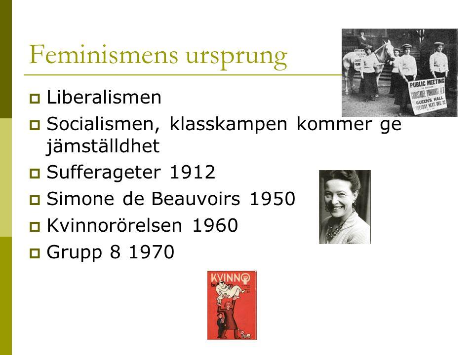 Feminismens ursprung  Liberalismen  Socialismen, klasskampen kommer ge jämställdhet  Sufferageter 1912  Simone de Beauvoirs 1950  Kvinnorörelsen