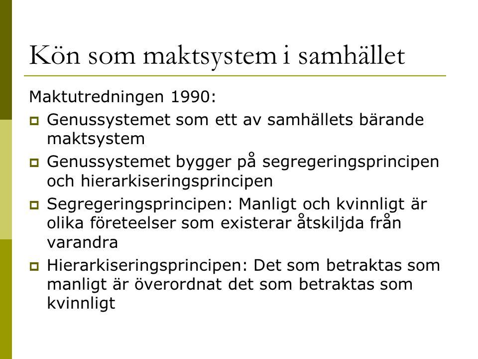 Kön som maktsystem i samhället Maktutredningen 1990:  Genussystemet som ett av samhällets bärande maktsystem  Genussystemet bygger på segregeringspr