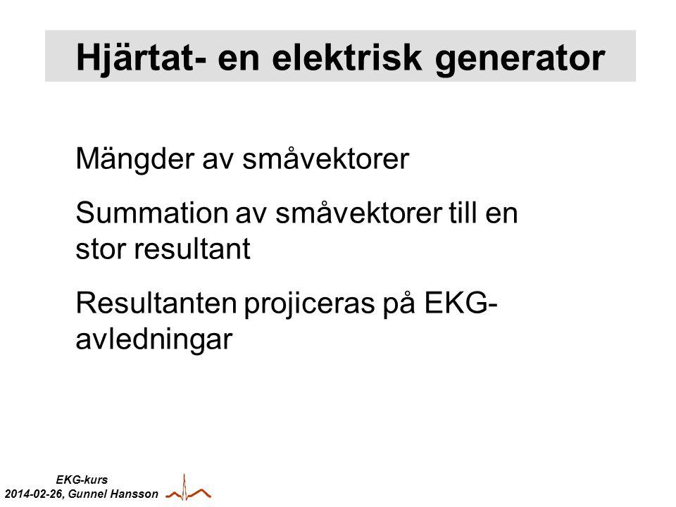 EKG-kurs 2014-02-26, Gunnel Hansson Hjärtat- en elektrisk generator Mängder av småvektorer Summation av småvektorer till en stor resultant Resultanten projiceras på EKG- avledningar