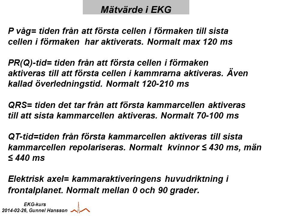 EKG-kurs 2014-02-26, Gunnel Hansson P våg= tiden från att första cellen i förmaken till sista cellen i förmaken har aktiverats.