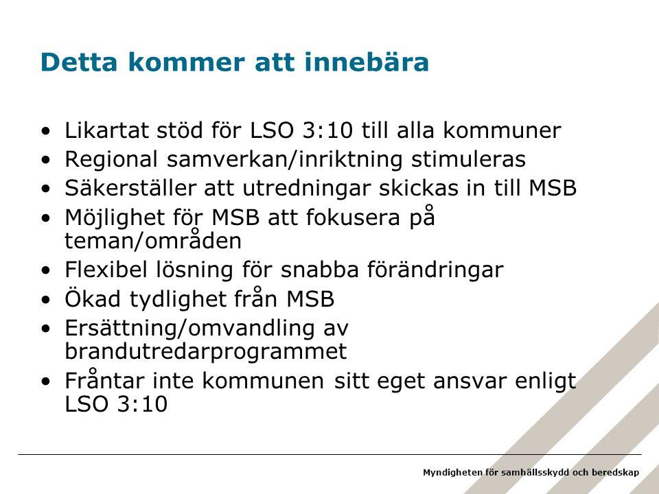 Myndigheten för samhällsskydd och beredskap Detta kommer att innebära Likartat stöd för LSO 3:10 till alla kommuner Regional samverkan/inriktning stimuleras Säkerställer att utredningar skickas in till MSB Möjlighet för MSB att fokusera på teman/områden Flexibel lösning för snabba förändringar Ökad tydlighet från MSB Ersättning/omvandling av brandutredarprogrammet Fråntar inte kommunen sitt eget ansvar enligt LSO 3:10