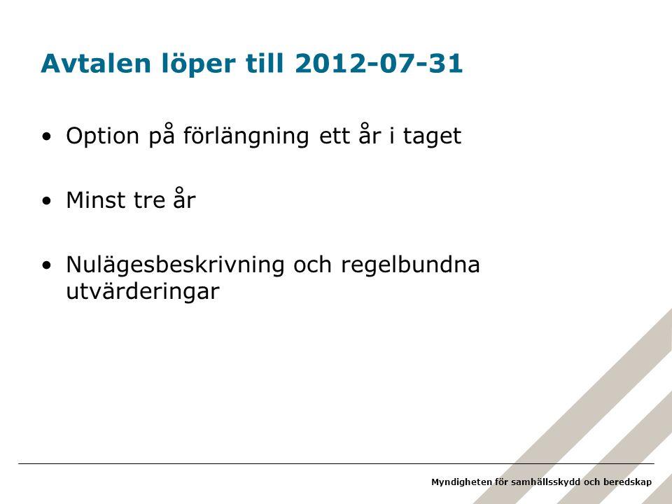 Myndigheten för samhällsskydd och beredskap Avtalen löper till 2012-07-31 Option på förlängning ett år i taget Minst tre år Nulägesbeskrivning och regelbundna utvärderingar