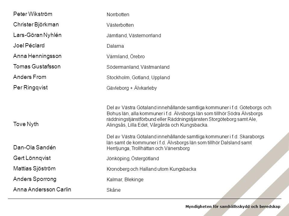 Myndigheten för samhällsskydd och beredskap Peter Wikström Norrbotten Christer Björkman Västerbotten Lars-Göran Nyhlén Jämtland, Västernorrland Joel Péclard Dalarna Anna Henningsson Värmland, Örebro Tomas Gustafsson Södermanland, Västmanland Anders From Stockholm, Gotland, Uppland Per Ringqvist Gävleborg + Älvkarleby Tove Nyth Del av Västra Götaland innehållande samtliga kommuner i f.d.