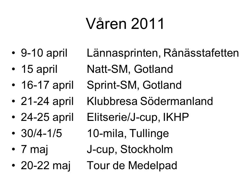 Våren 2011 9-10 aprilLännasprinten, Rånässtafetten 15 aprilNatt-SM, Gotland 16-17 aprilSprint-SM, Gotland 21-24 aprilKlubbresa Södermanland 24-25 aprilElitserie/J-cup, IKHP 30/4-1/510-mila, Tullinge 7 majJ-cup, Stockholm 20-22 majTour de Medelpad