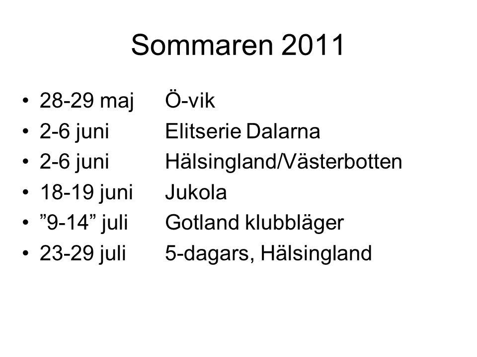 Sommaren 2011 28-29 majÖ-vik 2-6 juniElitserie Dalarna 2-6 juniHälsingland/Västerbotten 18-19 juniJukola 9-14 juliGotland klubbläger 23-29 juli5-dagars, Hälsingland