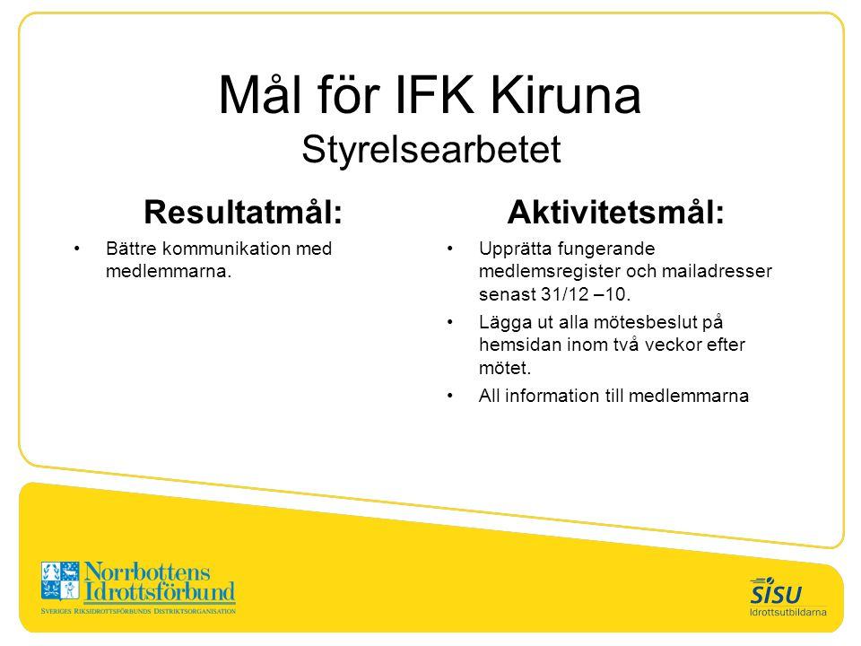 Mål för IFK Kiruna Styrelsearbetet Resultatmål: Bättre kommunikation med medlemmarna. Aktivitetsmål: Upprätta fungerande medlemsregister och mailadres