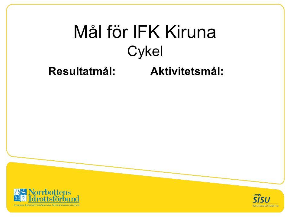Mål för IFK Kiruna Cykel Resultatmål:Aktivitetsmål: