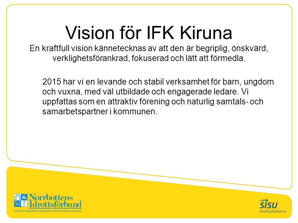 Vision för IFK Kiruna En kraftfull vision kännetecknas av att den är begriplig, önskvärd, verklighetsförankrad, fokuserad och lätt att förmedla. 2015