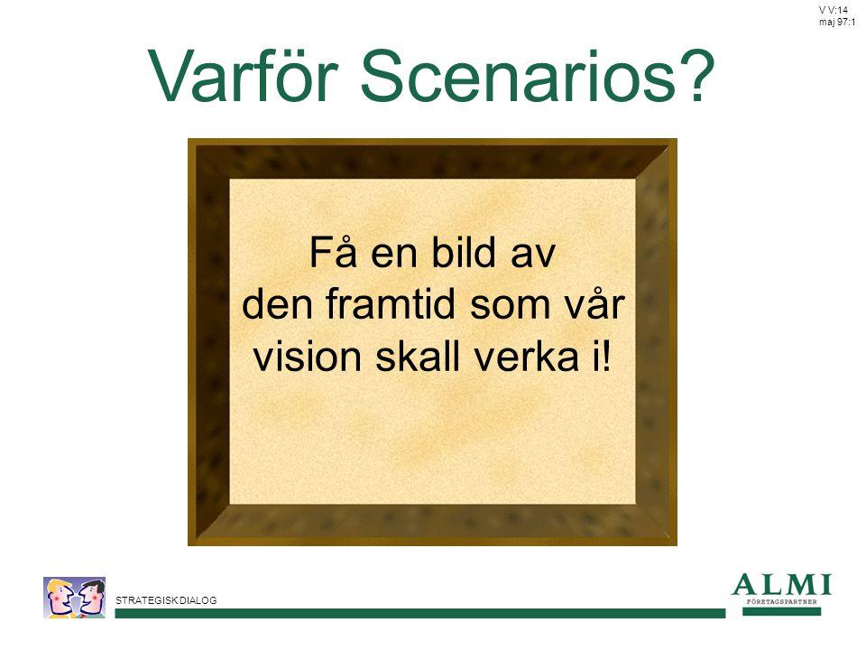STRATEGISK DIALOG Varför Scenarios? Få en bild av den framtid som vår vision skall verka i! V V:14 maj 97:1